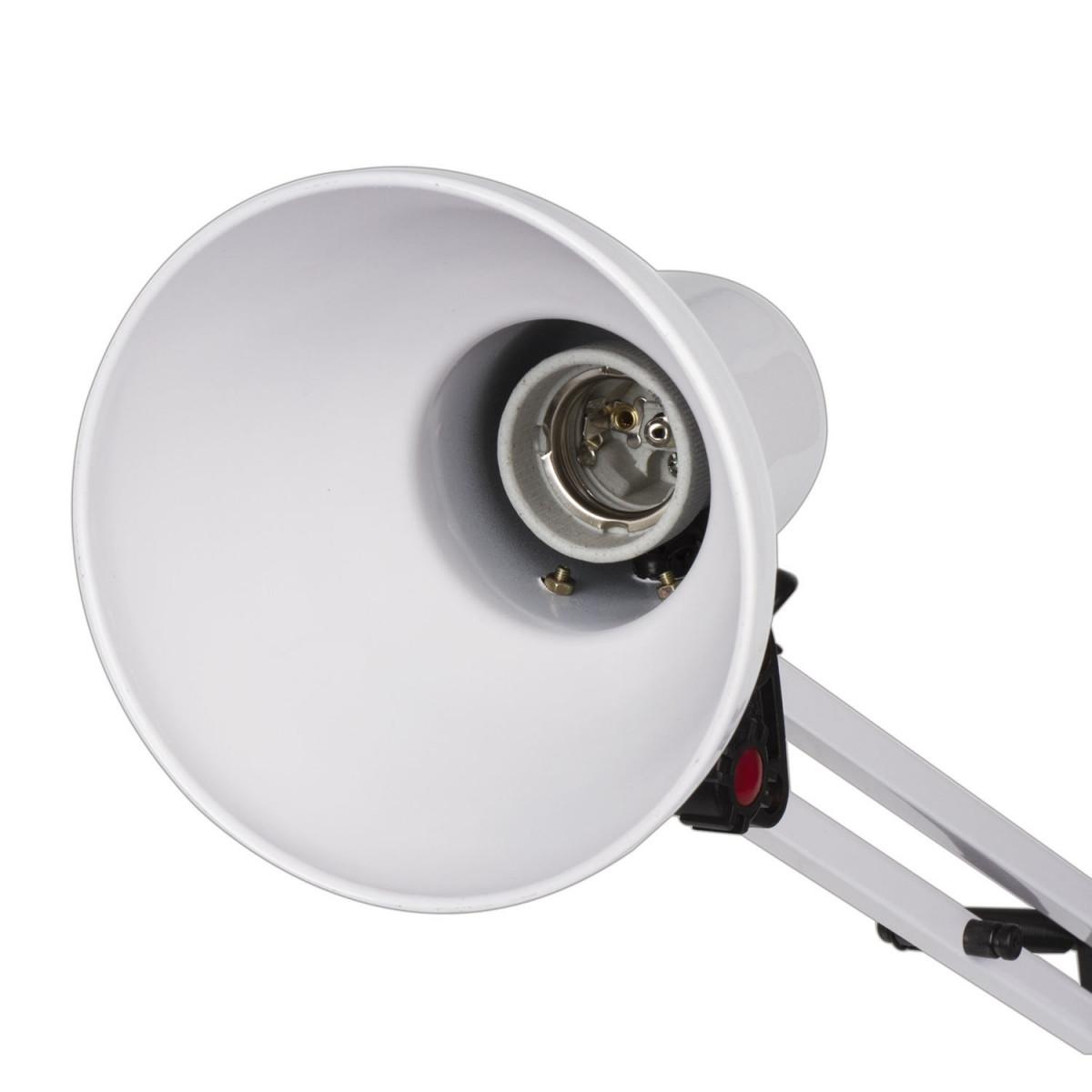 Светильник настольный SONNEN TL-007, на подставке + струбцина, 40 Вт, Е27, БЕЛЫЙ, высота 60 см, 235539 (арт. 235539)