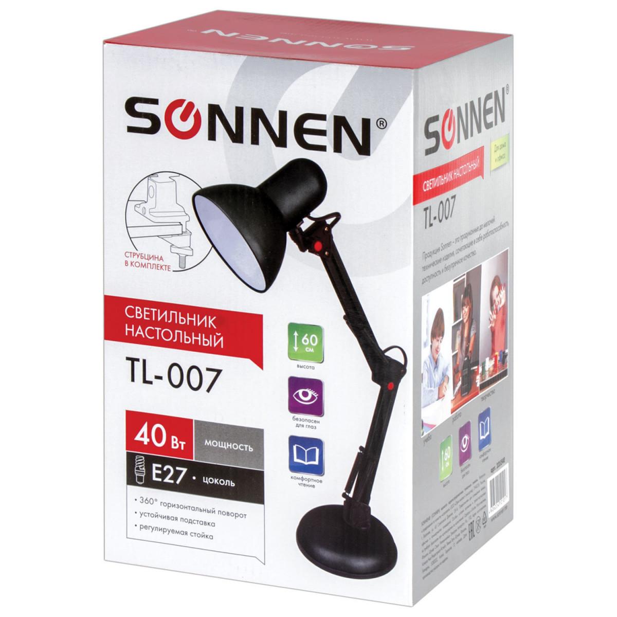 Светильник настольный SONNEN TL-007, на подставке + струбцина, 40 Вт, Е27, черный, высота 60 см, 235540 (арт. 235540)