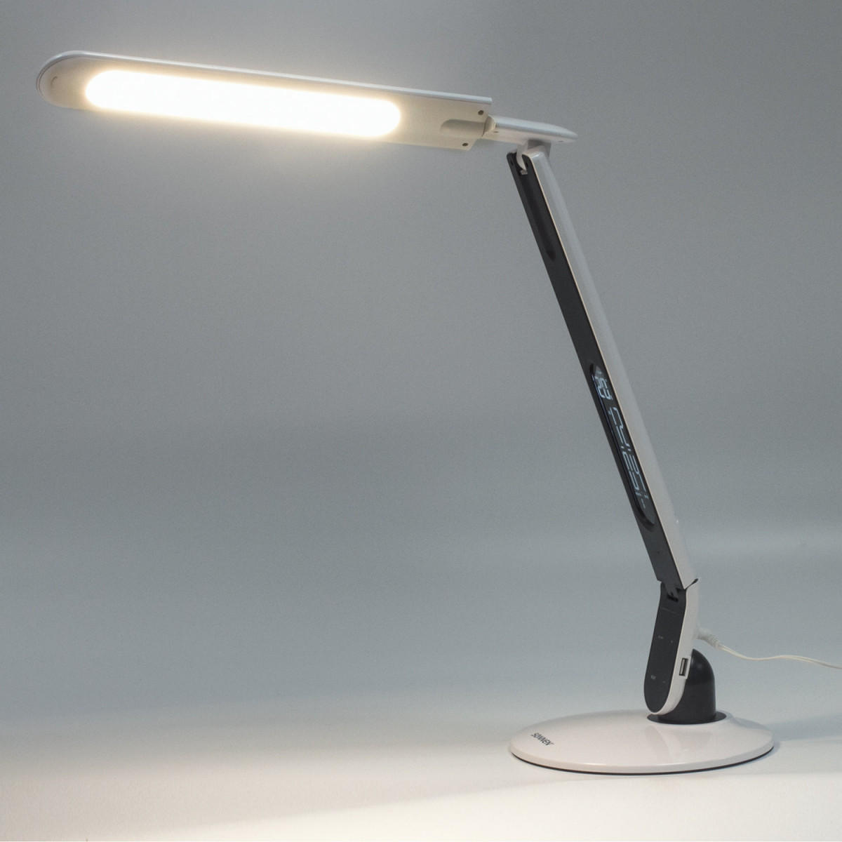 Светильник настольный SONNEN BR-898A, на подставке, светодиодный, 10 Вт, часы, календарь, термометр, белый, 236661 (арт. 236661)