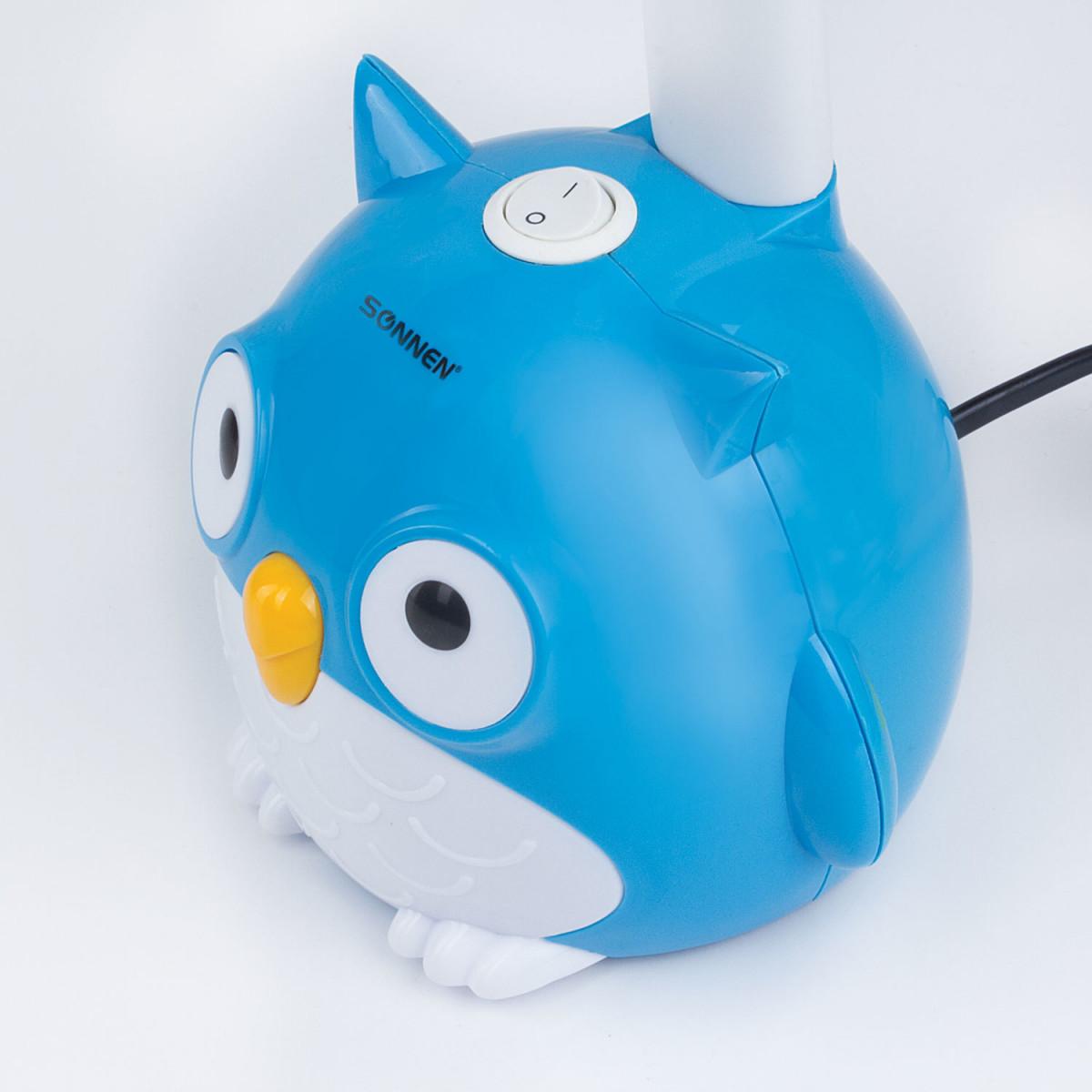 """Светильник настольный SONNEN OU-603, на подставке, цоколь Е27, """"Сова"""", синий, 236674 (арт. 236674)"""