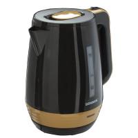 SONNEN 453418 Чайник SONNEN KT-1776, 1,7 л, 2200 Вт, закрытый нагревательный элемент, пластик, черный/горчичный, 453418