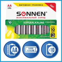 SONNEN 454231 Батарейки КОМПЛЕКТ 10 шт., SONNEN Super Alkaline, АА (LR06,15А), алкалиновые, пальчиковые, в коробке, 454231
