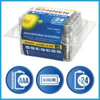 SONNEN 455096 Батарейки КОМПЛЕКТ 24 шт, SONNEN Alkaline, ААА (LR03, 24А), алкалиновые, мизинчиковые, короб, 455096