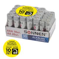 SONNEN 455097 Батарейки КОМПЛЕКТ 30 (20+10) шт., SONNEN Alkaline, AA+ААА (LR6+LR03), в коробке, 455097