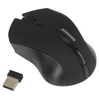 SONNEN 512642 Мышь беспроводная SONNEN WM-250Bk, USB, 1600 dpi, 3 кнопки + 1 колесо-кнопка, оптическая, черная, 512642