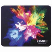 "SONNEN 513291 Коврик для мыши SONNEN ""EXPLOSIVE"", резина + ткань, 220х180х3 мм, 513291"