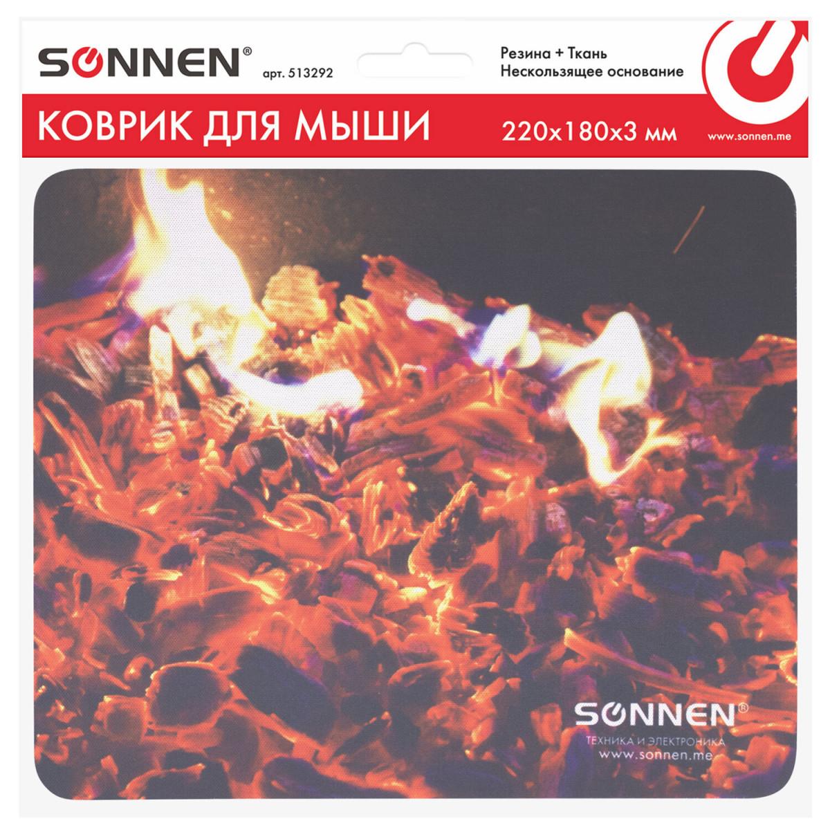 "Коврик для мыши SONNEN ""FIRE"", резина + ткань, 220х180х3 мм, 513292 (арт. 513292)"