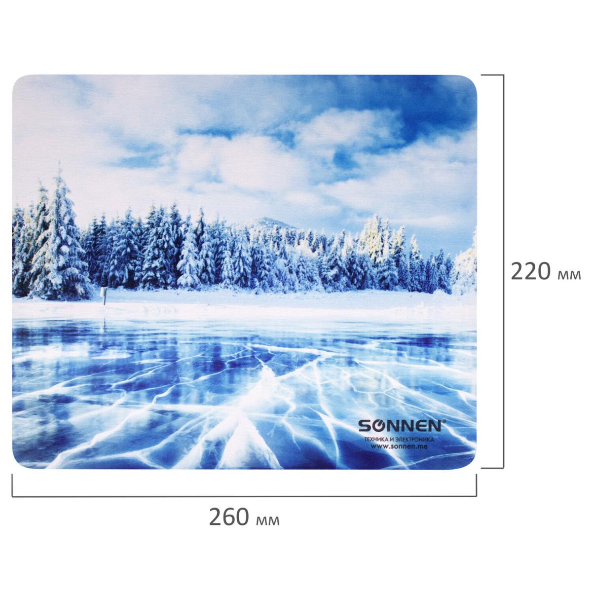 "Коврик для мыши SONNEN ""WINTER"", резина + ткань, 260х220х3 мм, 513295 (арт. 513295)"