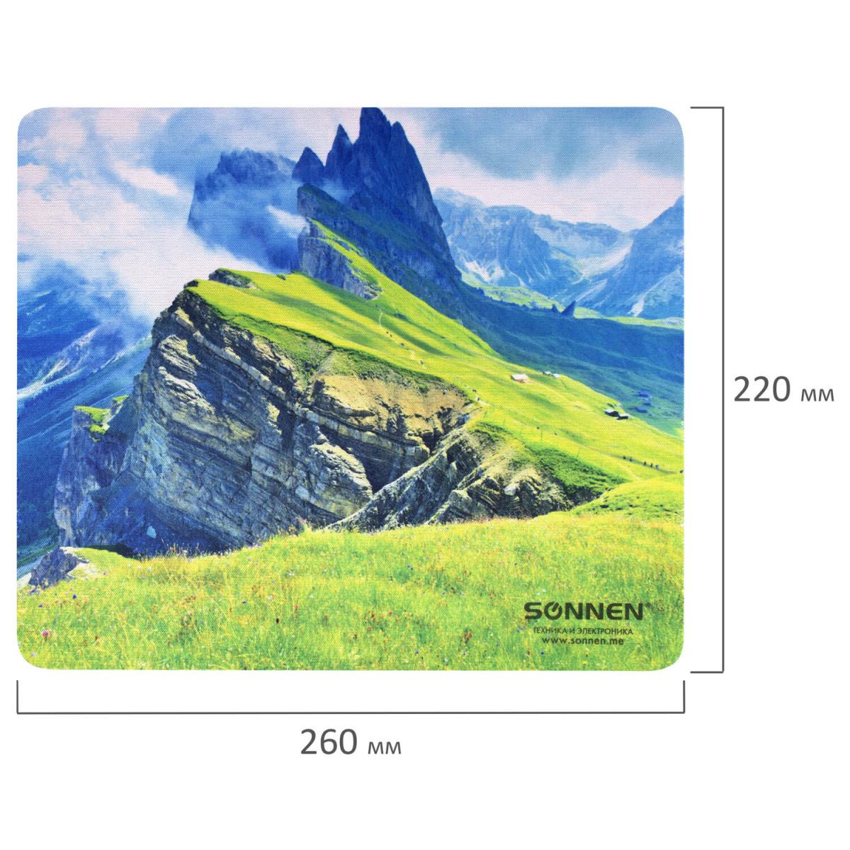 "Коврик для мыши SONNEN ""MOUNTAINS"", резина + ткань, 260х220х3 мм, 513298 (арт. 513298)"