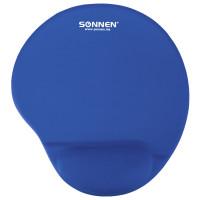 SONNEN 513300 Коврик для мыши с подушкой под запястье SONNEN, полиуретан + лайкра, 250х220х20 мм, синий, 513300
