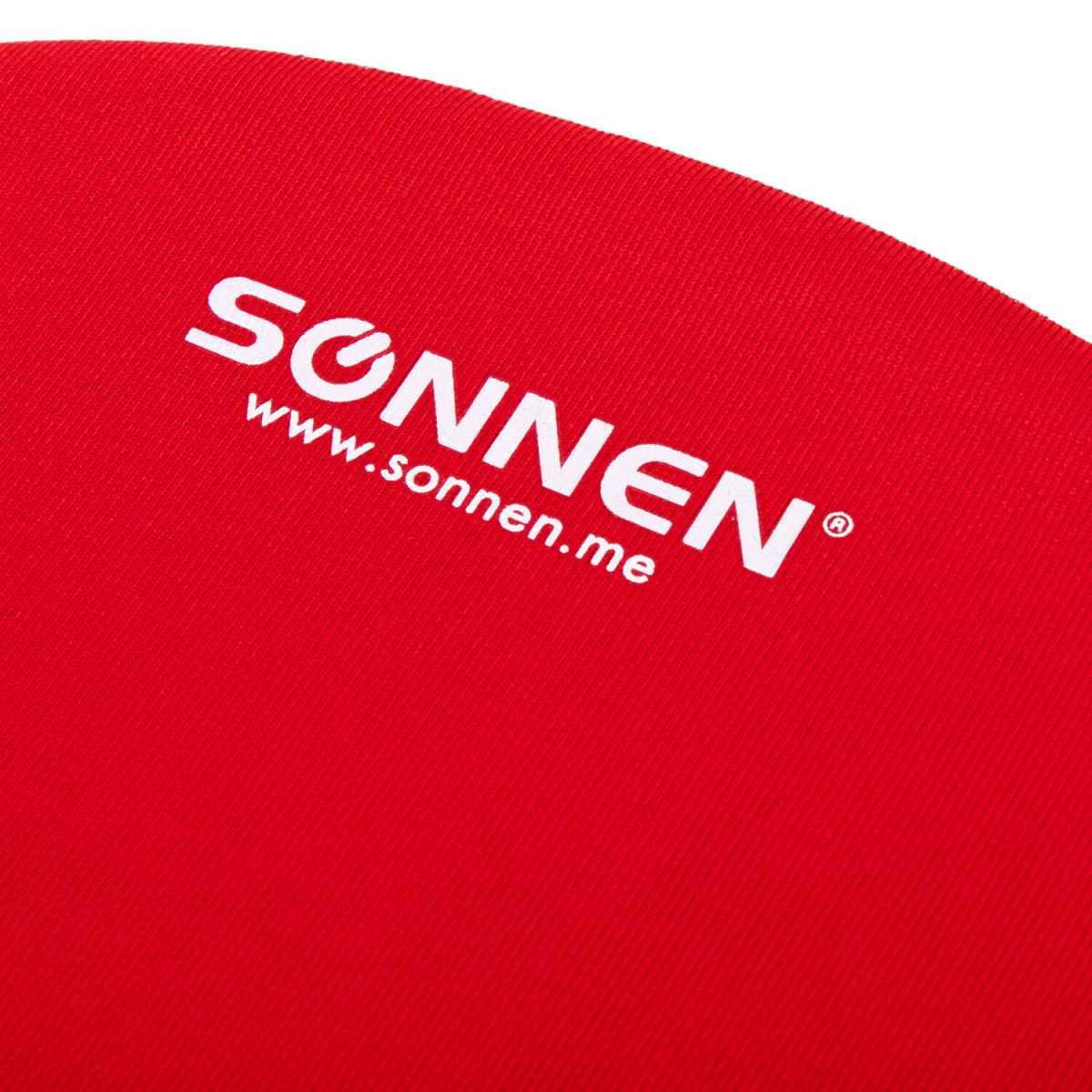 Коврик для мыши с подушкой под запястье SONNEN, полиуретан + лайкра, 250х220х20 мм, красный, 513301 (арт. 513301)