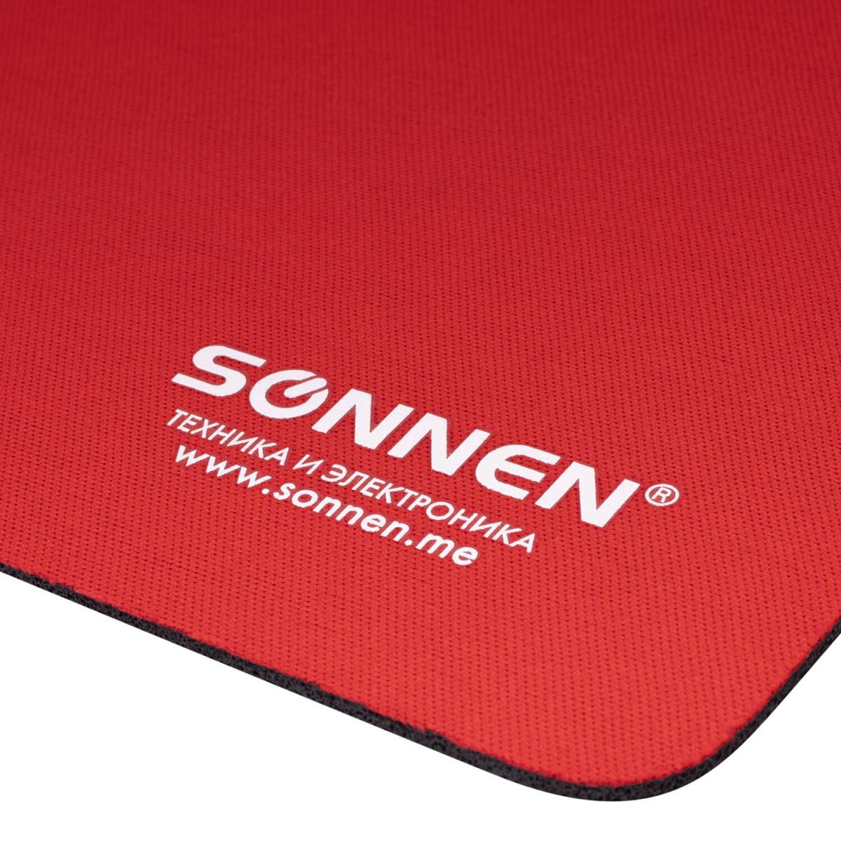 "Коврик для мыши SONNEN ""RED"", резина + ткань, 220х180х3 мм, 513306 (арт. 513306)"