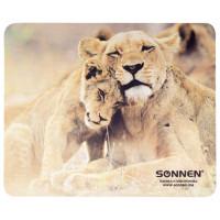 """SONNEN 513310 Коврик для мыши SONNEN """"LIONS"""", резина + ткань, 220х180х3 мм, 513310"""