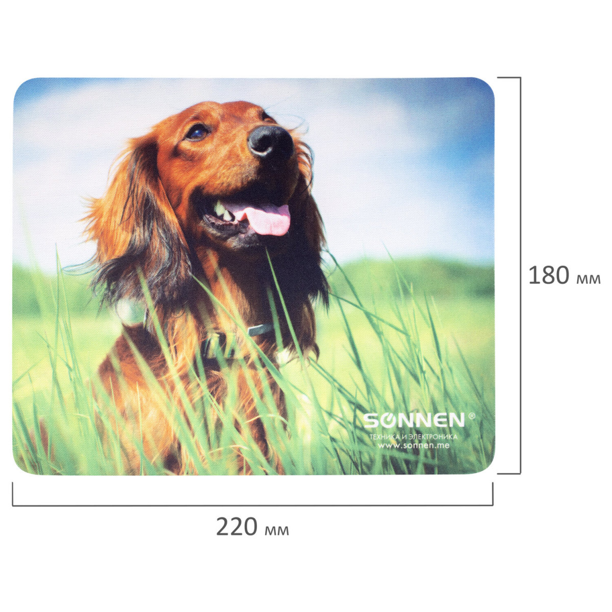 "Коврик для мыши SONNEN ""BUDDY"", резина + ткань, 220х180х3 мм, 513311 (арт. 513311)"