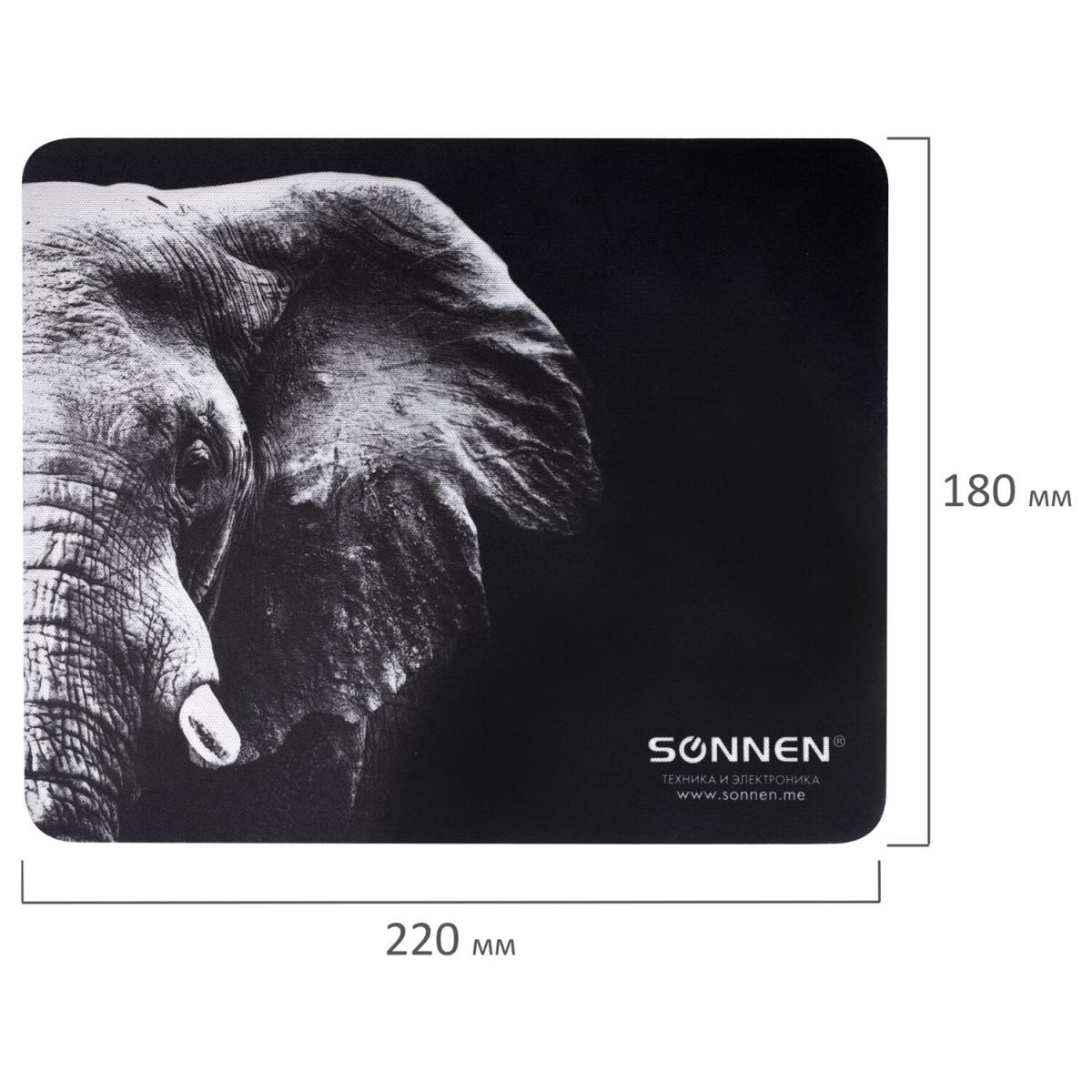 """Коврик для мыши SONNEN """"ELEPHANT"""", резина + ткань, 220х180х3 мм, 513312 (арт. 513312)"""