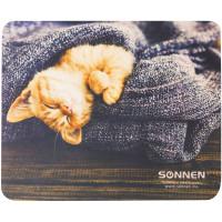 "SONNEN 513313 Коврик для мыши SONNEN ""KITTEN"", резина + ткань, 220х180х3 мм, 513313"