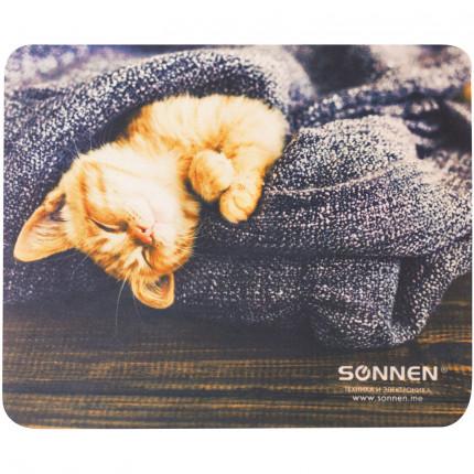 """Коврик для мыши SONNEN """"KITTEN"""", резина + ткань, 220х180х3 мм, 513313 (арт. 513313)"""