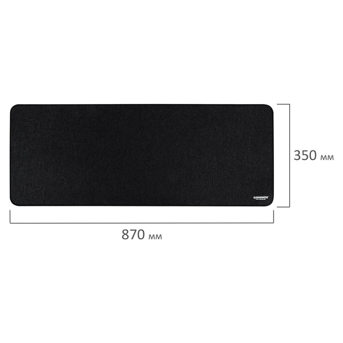 "Коврик для мыши игровой SONNEN ""WIDE RANGE"", резина + ткань, 870х350х4 мм, чёрный, 513315 (арт. 513315)"