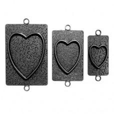 Заготовка для украшения Сердца 2 (Серебро) (арт. MB2-006S)