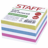 STAFF 126365 Блок для записей STAFF непроклеенный, куб 9х9х5 см, цветной, чередование с белым, 126365