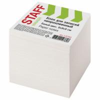 STAFF 126366 Блок для записей STAFF непроклеенный, куб 9х9х9 см, белый, белизна 90-92%, 126366