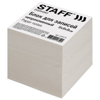 STAFF 126575 Блок для записей STAFF, непроклеенный, куб 9х9х9 см, белизна 70-80%, 126575