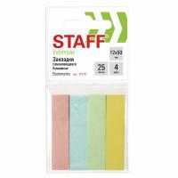 STAFF 127147 Закладки клейкие STAFF, ПАСТЕЛЬНЫЕ бумажные, 50х12 мм, 4 цвета х 25 листов, европодвес, 127147
