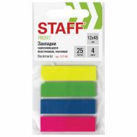 STAFF 127148 Закладки клейкие STAFF НЕОНОВЫЕ, пластиковые, 12х45 мм, 4 цвета х 25 листов, европодвес, 127148