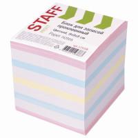 STAFF 129208 Блок для записей STAFF проклеенный, куб 9х9х9 см, цветной, чередование с белым, 129208