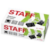 """STAFF 224606 Зажимы для бумаг STAFF """"EVERYDAY"""", КОМПЛЕКТ 12 шт., 19 мм, на 60 листов, черные, картонная коробка, 224606"""