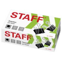 """STAFF 224608 Зажимы для бумаг STAFF """"EVERYDAY"""", КОМПЛЕКТ 12 шт., 32 мм, на 140 листов, черные, картонная коробка, 224608"""