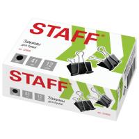 """STAFF 224609 Зажимы для бумаг STAFF"""" EVERYDAY"""", КОМПЛЕКТ 12 шт., 41 мм, 200 листов, черные, картонная коробка, 224609"""