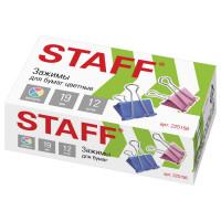 """STAFF 225156 Зажимы для бумаг STAFF """"Profit"""", КОМПЛЕКТ 12 шт., 19 мм, на 60 листов, цветные, картонная коробка, 225156"""
