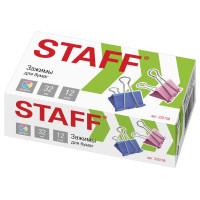 """STAFF 225158 Зажимы для бумаг STAFF """"Profit"""", КОМПЛЕКТ 12 шт., 32 мм, на 140 листов, цветные, картонная коробка, 225158"""