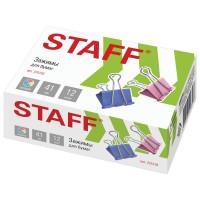 """STAFF 225159 Зажимы для бумаг STAFF """"Profit"""", КОМПЛЕКТ 12 шт., 41 мм, на 200 листов, цветные, картонная коробка, 225159"""