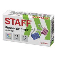 """STAFF 229050 Зажимы для бумаг STAFF """"Profit"""", КОМПЛЕКТ 12 шт., 15 мм, на 45 листов, цветные, картонная коробка, 229050"""