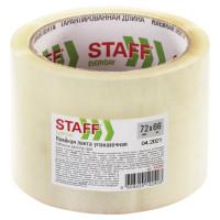 STAFF 440088 Клейкая лента упаковочная 72 мм x 66 м, прозрачная, толщина 40 микрон, STAFF, 440088
