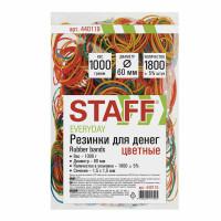 STAFF 440119 Резинки банковские универсальные диаметром 60 мм, STAFF 1000 г, цветные, натуральный каучук, 440119