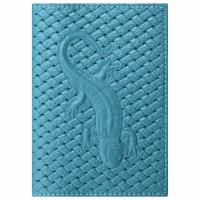 """STAFF  Обложка для паспорта натуральная кожа плетенка, с ящерицей, бирюзовая, STAFF """"Profit"""", 237202"""