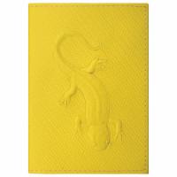 """STAFF  Обложка для паспорта натуральная кожа плетенка, с ящерицей, желтая, STAFF """"Profit"""", 237205"""