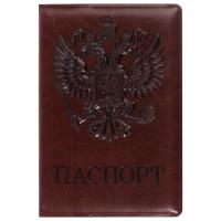 """STAFF  Обложка для паспорта STAFF, полиуретан под кожу, """"ГЕРБ"""", коричневая, 237604"""