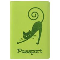 """STAFF  Обложка для паспорта STAFF, мягкий полиуретан, """"Кошка"""", салатовая, 237614"""