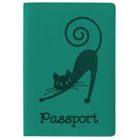 """STAFF  Обложка для паспорта STAFF, мягкий полиуретан, """"Кошка"""", бирюзовая, 237616"""