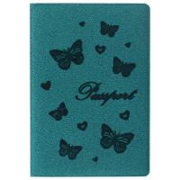 """STAFF  Обложка для паспорта STAFF, бархатный полиуретан, """"Бабочки"""", мятно-бирюзовая, 237617"""