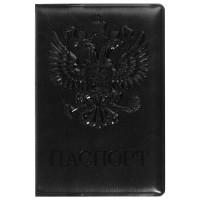 """STAFF  Обложка для паспорта STAFF, полиуретан под кожу, """"ГЕРБ"""", черная, 237602"""