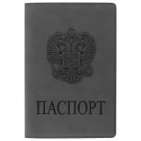 """STAFF  Обложка для паспорта STAFF, мягкий полиуретан, """"ГЕРБ"""", светло-серая, 237610"""