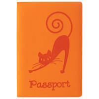 """STAFF  Обложка для паспорта STAFF, мягкий полиуретан, """"Кошка"""", оранжевая, 237613"""
