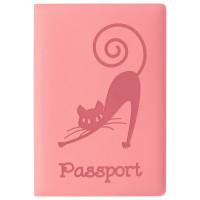 """STAFF  Обложка для паспорта STAFF, мягкий полиуретан, """"Кошка"""", персиковая, 237615"""