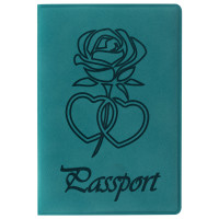 """STAFF  Обложка для паспорта STAFF, бархатный полиуретан, """"Роза"""", темно-бирюзовая, 237620"""