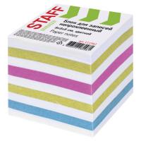 STAFF  Блок для записей STAFF непроклеенный, куб 8х8х8 см, цветной, чередование с белым, 111982